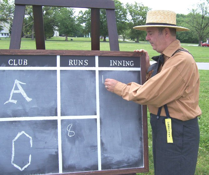 "This is how they keep score in a ""vintage"" baseball game."