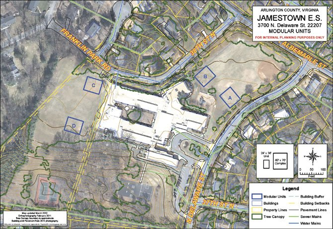 This map shows the locations Arlington County Public Schools suggested for trailer placement at Jamestown Elementary School. Community members noted the actual position of option A is closer to the school than what is displayed.
