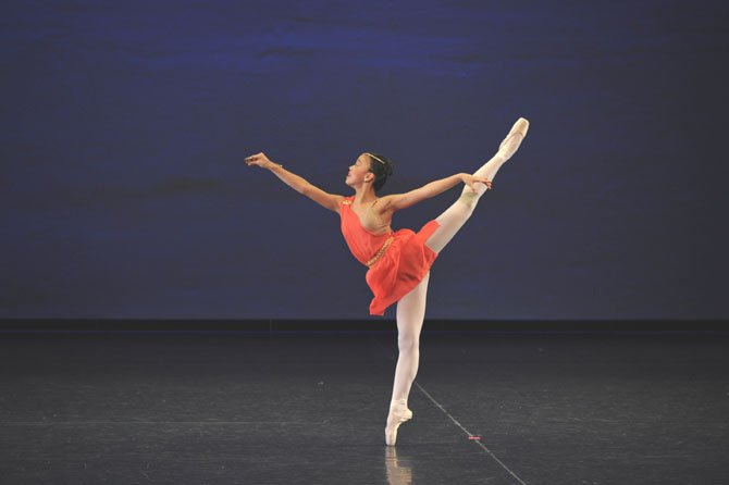 "Grace Cho performs at the January 2012 Youth America Grand Prix. Grace portrays the goddess Diana the Huntress in a variation from the ballet ""Diana and Acteon."""