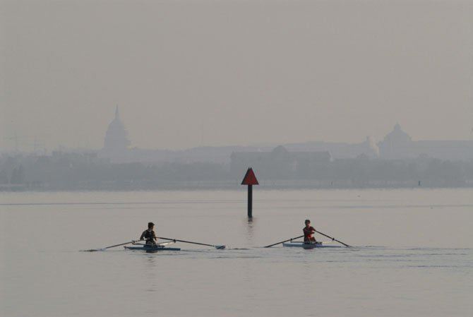 Two scullers make their way up the Potomac during the Blue Plains Sprints a few years back. The Sprints is an annual regatta that pits T.C. Williams summer crew participants against each other in a series of races and marks the official end of the summer rowing season. Sign-up for the 2012 program is this Saturday, June 23, from 8-10 a.m. at the Dee Campbell Boathouse in Old Town.