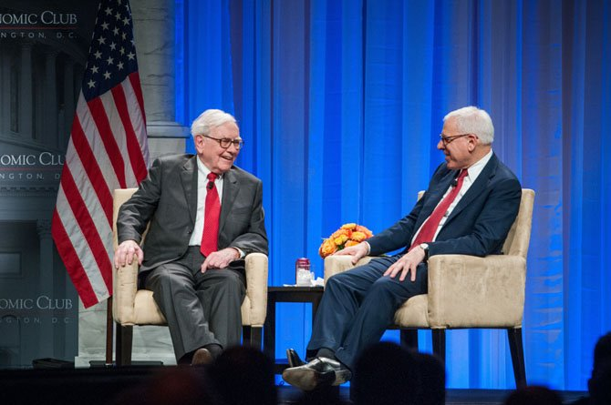 Warren Buffet and David Rubenstein during a conversation onstage at the 25th anniversary dinner of The Economic Club of Washington, DC.