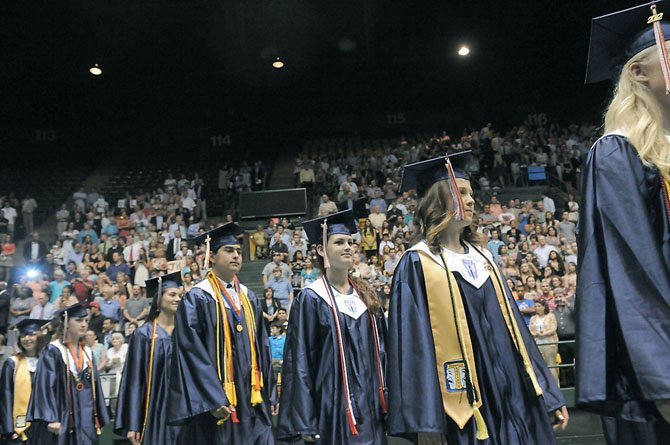 The West Springfield Class of 2012 enters the floor at the Patriot Center for the Commencement Exercises.