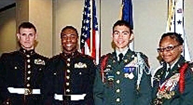 From Left: Cadet Major Ronald Harrell of Quantico H.S., Cadet Lt. Colonel E.J. Coleman of Mount Vernon H.S., Cadet Lt. Colonel Zachary Crews of West Potomac H.S., Cadet Aleecia Stephens of T.C. Williams H.S. Not pictured is Cadet Wuddy Zhan of Thomas Edison H.S.