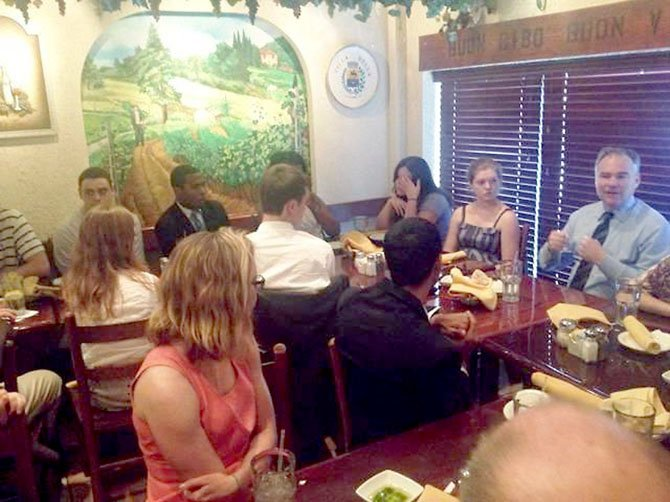 Former Virginia governor and U.S. Senate candidate Tim Kaine (D) held a forum Thursday, June 21, with about 40 Northern Virginia students and parents on the future of higher education at the Villa Bella Ristorante in Burke.