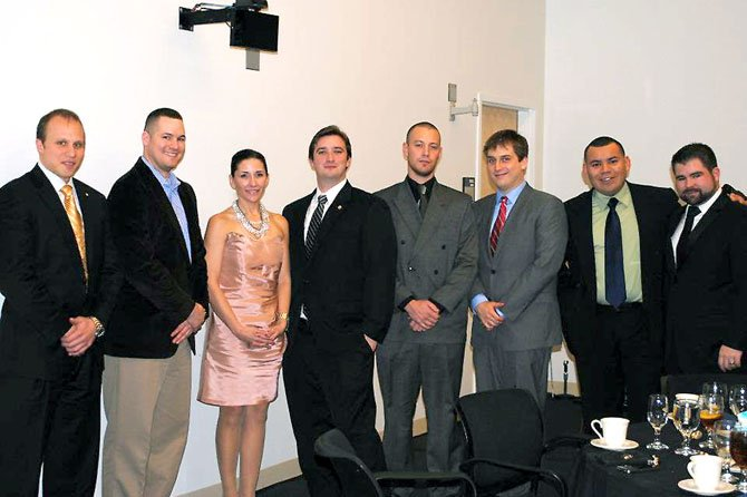 From left – veteran students at Mason and members of the veteran society: Nick Bogden, Michael Lillie, Jennifer Connors, Walter Sweeney, current president, Chance Flemming, Kees Slot and former presidents Jacobo Flores and Joshua Lawton.