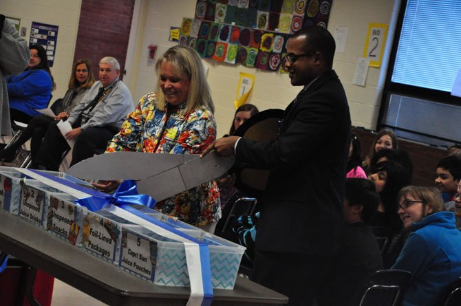 From left, Lisa Lombardozzi, president of LINK, and Marty Smith, Cluster One assistant superintendent