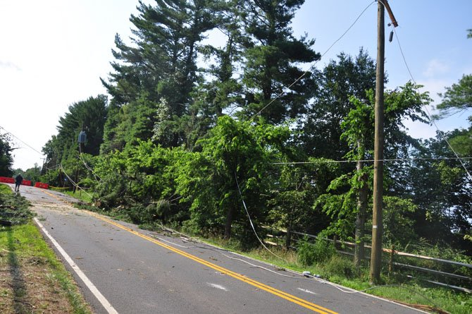 Fallen trees take down power lines along Georgetown Pike, the result of Fridays storm.