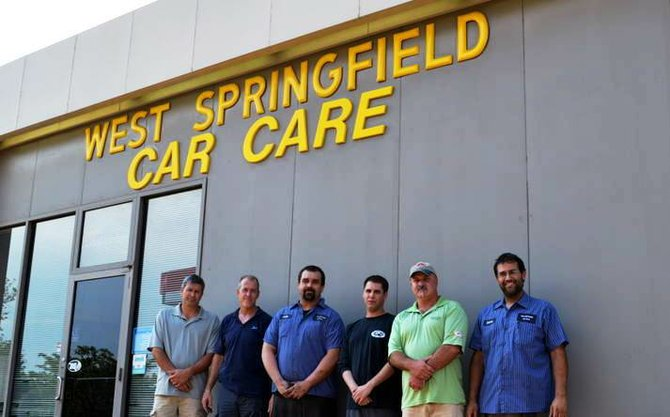 "From left - Scott Stephens (owner), Joel Spangler, Andy Kauffmann, Gary Farenholt, and Brent Roberts (owner), and Carlos Rivera, who posted this message on the Change.org petition to keep the business open: ""I am an employee at West Springfield Car Care. They shut us down and it affects me, my wife and 3 kids. Please sign this petition and help."""
