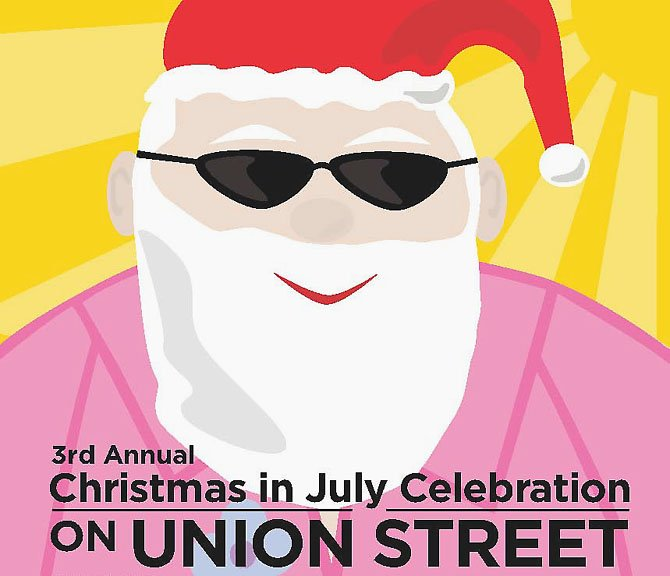 Union Street celebrates Christmas in July, co-presented by The Christmas Attic & the Businesses of Union Street, on July 21, 2012. Visit www.christmasattic.com.