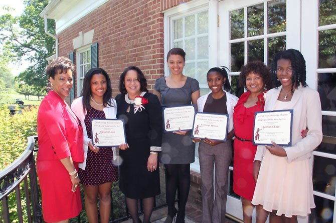 The Fairfax County Alumnae Chapter (FCAC) of Delta Sigma Theta Sorority, Inc. awarded six scholarships in the amount of $10,000 during its 2012 May Week program. Pictured -- from left: Rhea Ingram (Co-Chair FCAC Scholarship Committee); Danielle Lowe (awardee – Hayfield Secondary); Regina Milteer-Rock (President, FCAC); Domonique Collins (awardee –Herndon High); Ashleigh Wilson (awardee – Oakton High); Benita Toler (Co-Chair FCAC Scholarship Committee); and Gabrielle Tate (awardee – Oakton High). Not pictured are: Hanan Awel (awardee – Robert E Lee High) and Sydney MaHan (awardee – Chantilly High).