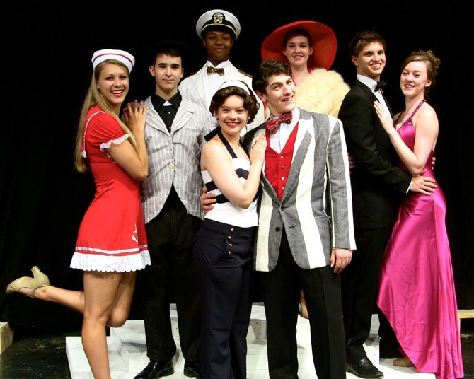 "Lead actors in ""Anything Goes"" are (front row, from left) Corinne Holland, Julian Sanchez, Katelyn Reimer, Joshua Ewalt, Colby Dezelick and Rachel Shirley; and (back row, from left) Chaz Coffin and Karin Hoelzl. (Not pictured, Daniel Perkes.)"