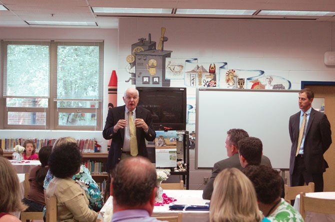 Peter Freck speaks at the book dedication ceremony at Woodley Hills Elementary School.