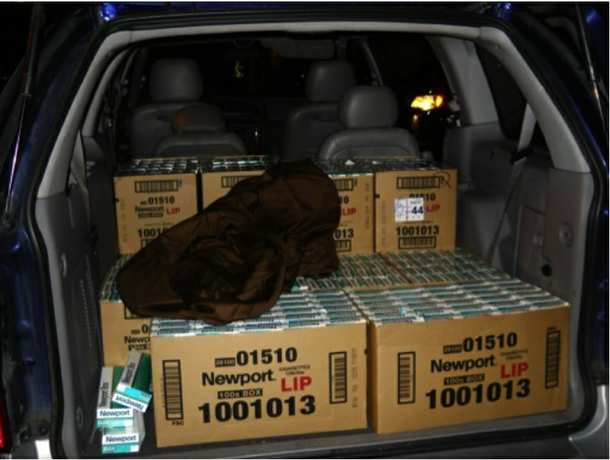 Northern Virginia Cigarette Tax Board enforcement officers confiscate cartons of Virginia cigarettes destined for high tax states like New Jersey, New York and Connecticut. Cigarette traffickers can make tens of thousands of dollars in a single trip.