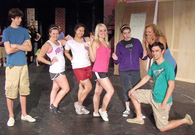 "From left are Gray O'Reilly, Megan Hazard, Gaia Chu, Taylin Frame, Amanda Mason, Cathy Arnold and Dave McVicar during a rehearsal of ""Legally Blonde, the Musical."""