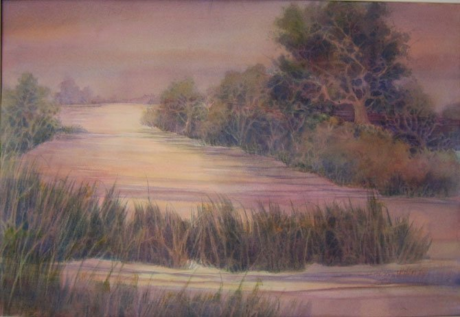 ">""Moody River,"" watercolor by Carol Milton. Featured artist Carol Milton's landscapes are scenes that change dramatically depending on weather conditions, time of day, season. 10 a.m.-4 p.m., Tuesday–Saturday. Vienna Arts Society Gallery on the Village Green, 513 Maple Ave., W., Vienna. www.ViennaArtsSociety.org."