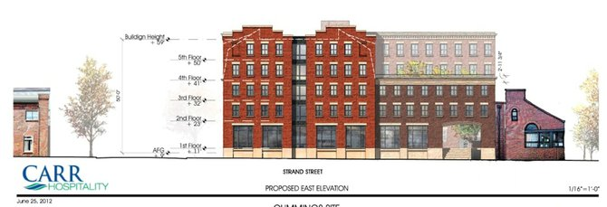 Carr Hospitality's plan for the Cummings property, which is at the northeast corner of Duke and Union streets.