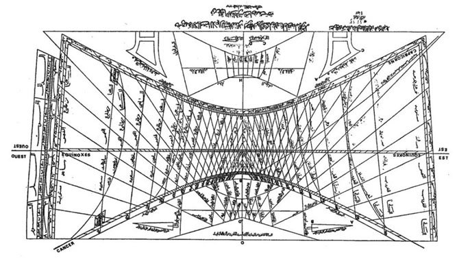 A design of the sundial at the mosque in Damascus, which the Analemma Society hopes to fund a replica for Observatory Park at Turner Farm. 