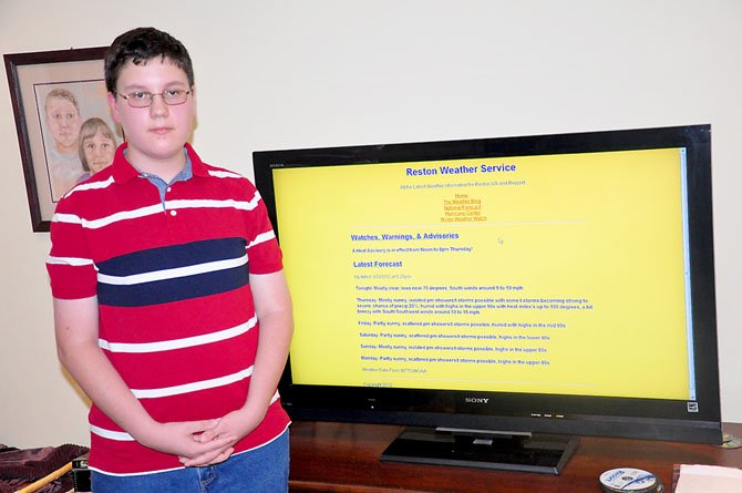 Herndon Middle School seventh grader Andrew Bottom runs the website Reston Weather Service, dedicated to local weather, as well as one about severe storms.