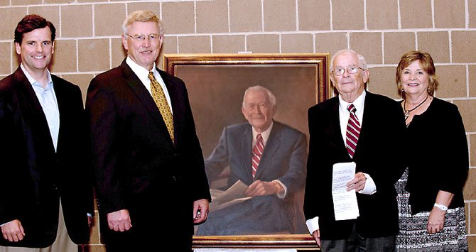 MCC Governing Board Vice Chair Chad Quinn, Supervisor John Foust (D- Dranesville) and Friends of MCC President Sandy Bremer (far right) with Bob Alden and the new portrait.
