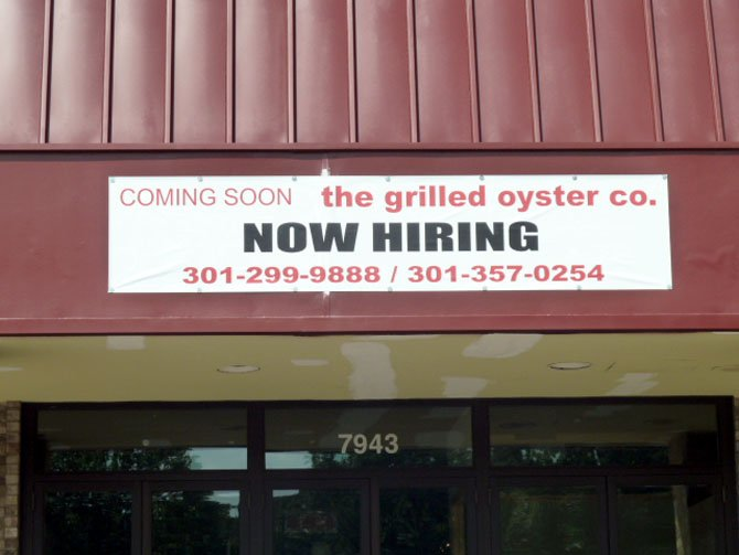 Grilled Oyster Company will be opening in the Cabin John Shopping Center in the last week of August or the first week in September.
