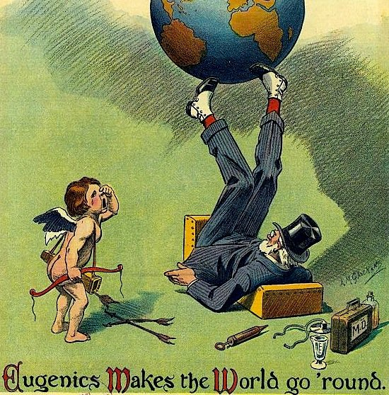 1894 Puck magazine cover shows a well-dressed old man wearing a top hat and spats, lying on his back, bouncing the earth on his feet. A doctor's bag is in the foreground next to a weeping cherub.