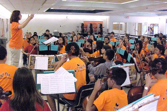 Franklin Orchestra Director Francesca Fitzgerald conducts the intermediate orchestra.