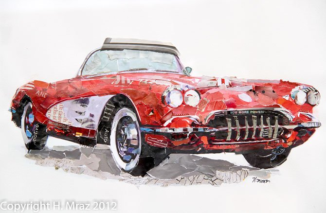 In a series that includes classic racecars from the 60's and 70's, Mraz's artwork uses torn bits of recycled automotive and fashion magazines.