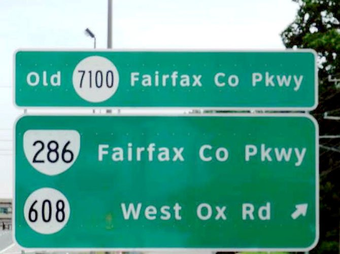 The Fairfax County Parkway (Route 7100), which runs from Route 1 to Route 7, will become Route 286. The 32-mile road carries between 22,000 and 75,000 vehicles per day. 