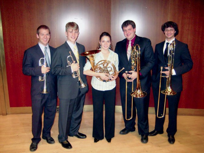 Stuart Stephenson (second to left) with his quintet, the Vandalay Brass.