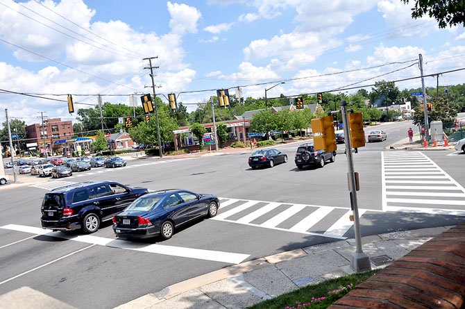 The intersection of Chain Bridge Road and Old Dominion Drive in downtown McLean, where a utility undergrounding project is taking place.
