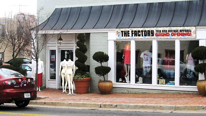 The Factory Vintage T-shirt shop at 10409 Main Street in the City of Fairfax sells vintage and custom t-shirts and other apparel.