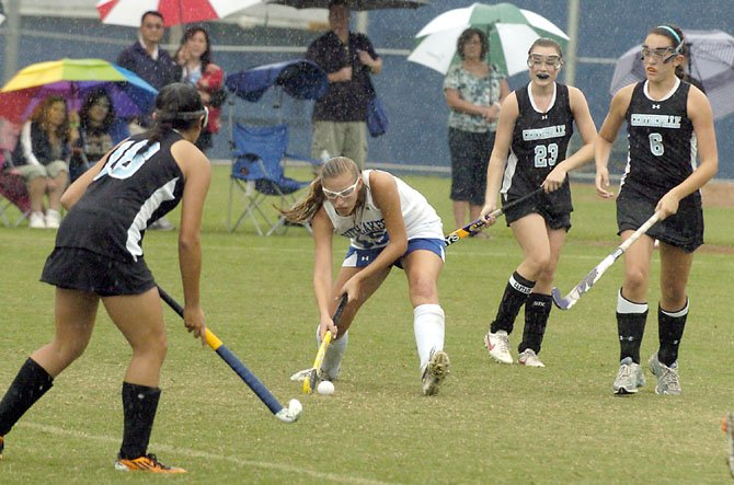 "South Lakes junior midfielder Olivia Wolfe scored two goals during the ""Under the Lights"" field hockey tournament on Aug. 24-25 at Lee High School in Springfield."