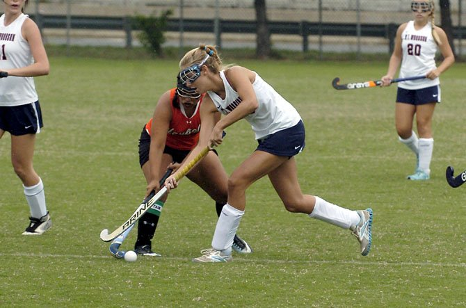 "Woodson junior Kelly Stegner scored a career-high three goals against Hayfield during the ""Under the Lights"" tournament on Aug. 25 at Lee High School."