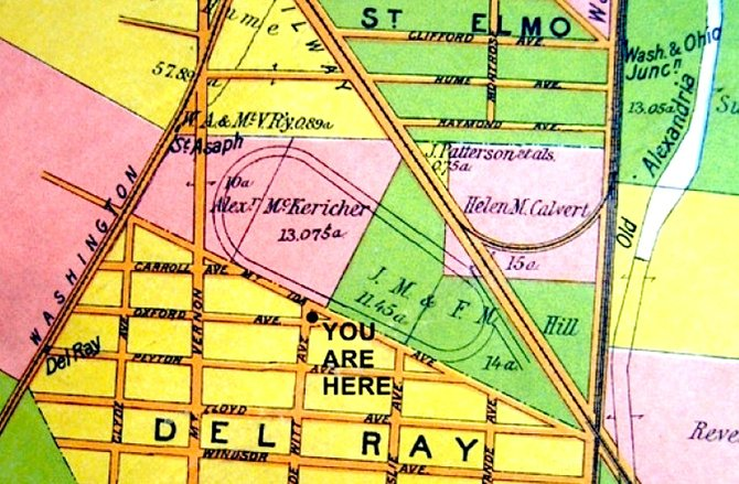 The St. Asaph Racetrack operated between a neighborhood known as St. Elmo and another neighborhood called Del Ray. After the track closed, the two neighborhoods were included in the newly created town of Potomac.
