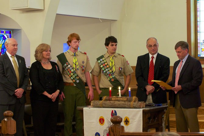 From left—Glenn Smeds, Kathy Smeds, Stephen Smeds, Mikey Porrazzo, Michael Porrazzo and Assistant Scout Master Steve Gray.
