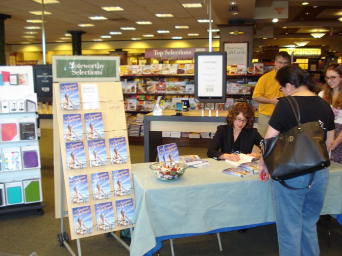 Shannon Greenland signs books at the McLean Barnes and Noble.