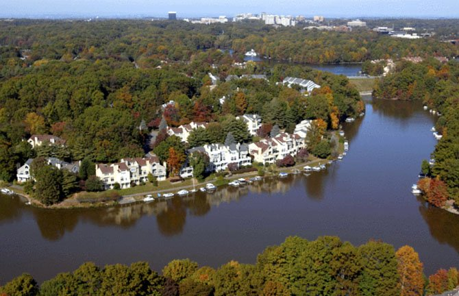 This aerial photo of Reston, taken by Jim Kirby on Oct. 23, 2008, shows the expanse of trees that covers the densely populated community.