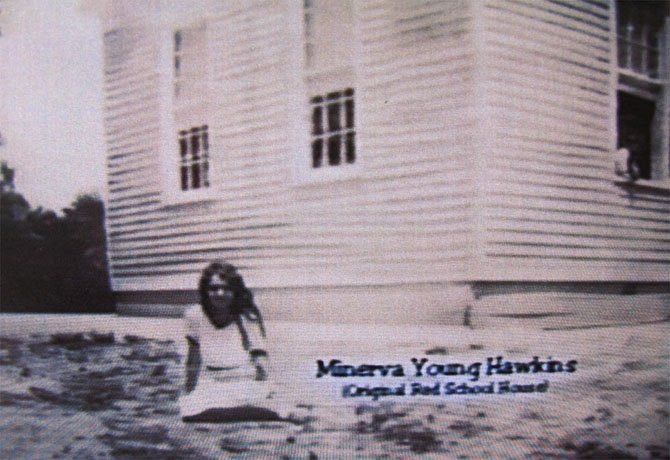 This archival screen-shot photo was taken around 1928-1929, right after the school was constructed. The girl in the photo is Minerva Young Hawkins, one of the school's first students. The photo is part of a video made by the Sydenstricker Church regarding the church history.