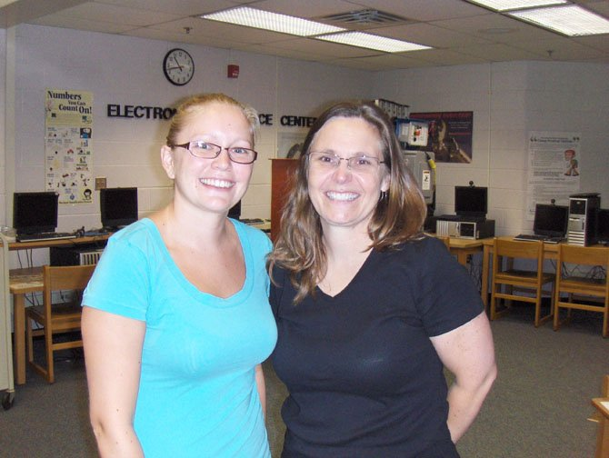From left are Stone Middle School teachers Charlotte Chrostowski, math, and Liz Deal, civics.
