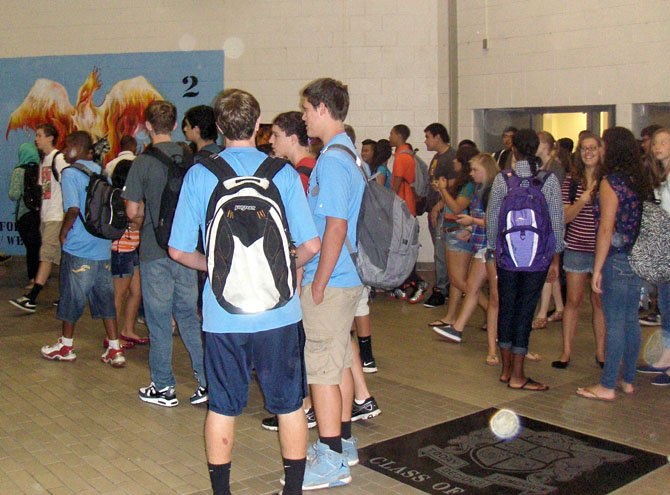 Centreville High students mill in the front hallway before the first bell.