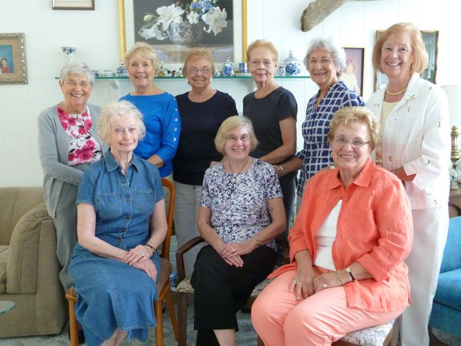 The Women's Club of Potomac is celebrating 40 years of servie to the community. Top row, from left, are Phyliss Warshauer, Ruth Zook, Edith Mueller, Carolyn Patterson, Joan Haller and Beverly Haass. Seated, from left, are founder Jeanine Mingos, president Mary Jane Morison and founder Joan Mason.