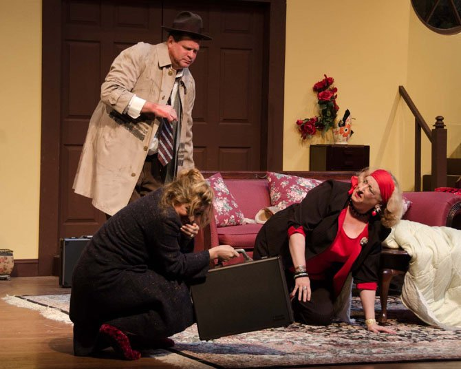 "Michael Metz (Passer-by), Charlene Sloan (Jean Perkins), and Gayle Nichols-Grimes (Betty Johnson) in Little Theatre of Alexandria's ""Funny Money."""