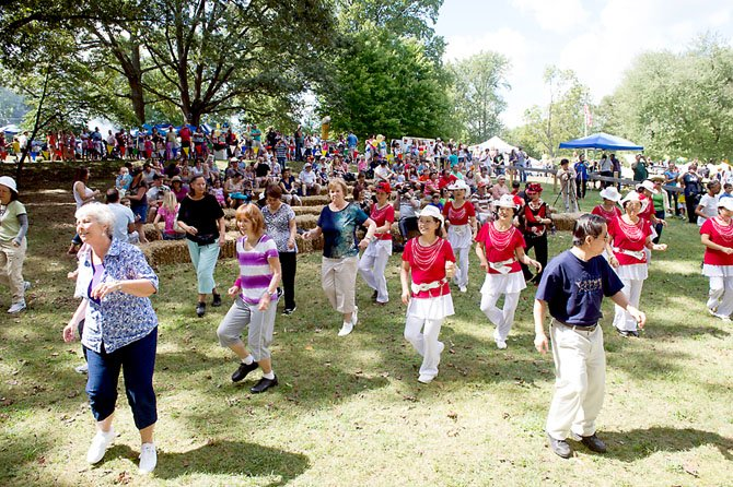 Festival-goers got a surprise on Sunday when a senior citizen flash mob started dancing.