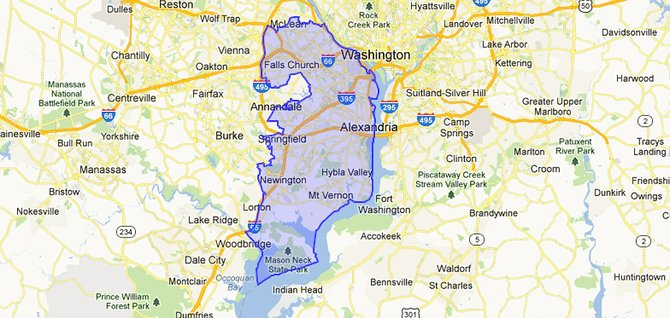 The 8th Congressional District stretches from McLean to Mason Neck.
