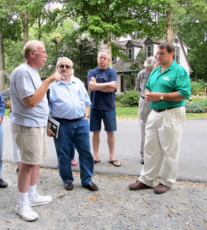 South Run residents in Fairfax Station meet with Supervisor Pat Herrity (R-Springfield) to discuss concerns about the Burke Lake Park Dam project. From left, Chris Leach, Chuck Caposell, Tony Bralich, Jim Robinson and Pat Herrity.