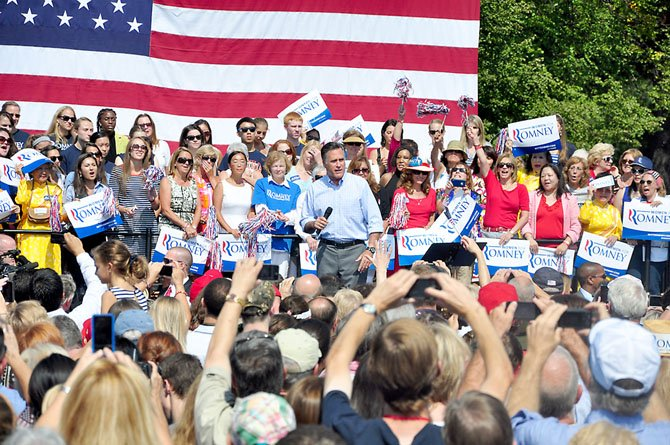 Mitt Romney speaks to a crowd at Van Dyck Park in Fairfax, Thursday, Sept. 13.