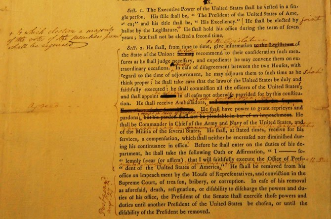 A detail of George Washingtons first draft of the U.S. Constitution on loan from the National Archives.