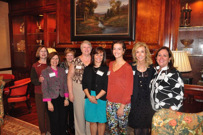From left, Judy Mahanes, Susan Reber, Mary Stout, Karen Magley, Elizabeth Harrell, Katherine Stewart, Annette Kerlin and Ricki Harvey at the Great Falls Friends and Newcomers luncheon Tuesday, Sept. 18. Harrell and Stewart were among four students who received scholarships from the club.