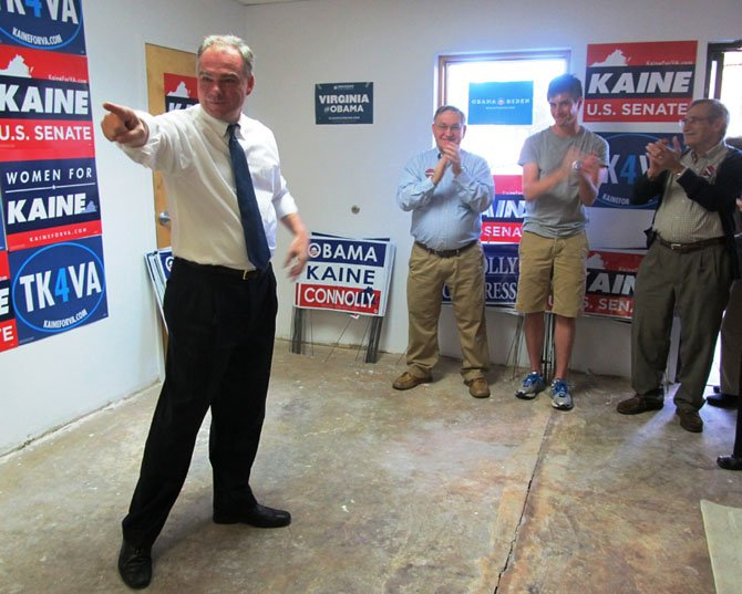 Former Governor and U.S. Senate candidate Tim Kaine rallies supporters at his canvass kick-off in Oakton Sunday, Sept. 23.