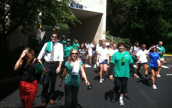 "Marymount University faculty, staff and students kick off the school's ""Healthy Monday"" campaign with a one-mile walk."